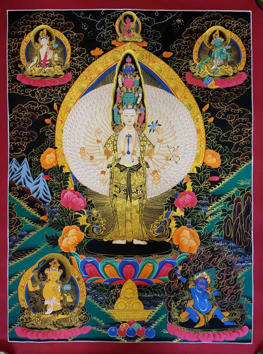 1000 Armed Avalokitesvara Thangka Painting